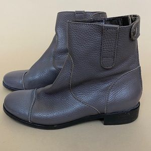 J. crew Grey Leather Toe Cap Ankle Booties 6.5